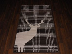 Modern Approx 5x2ft6 80x150cm Woven Top Quality Stag check Brown/Cream Rugs/Mats